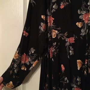 torrid Tops - Torrid Super Soft Knit Black Floral Babydoll Tee